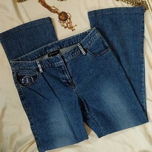 INC blue jeans embellished with 'rhinestone jewels